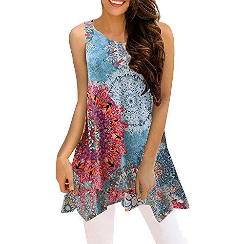 (Hpapadks Women Irregular Printing Sleeveless Blouse Loose T-Shirt Tunic Tank Top Paisley Printed Long Sleeve Henley V)