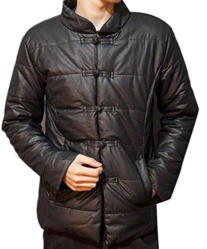 Black PU Jackets Winter Coats UK today Men Leather Parka np8WZWq
