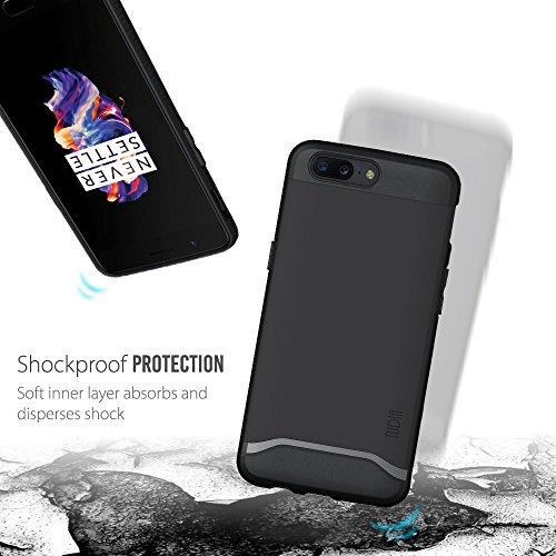 OnePlus 5 Funda, Caja protectora TUDIA MERGE TAREA PESADA Protección EXTREME de doble capa para OnePlus 5 (Grafito) Negro Mate