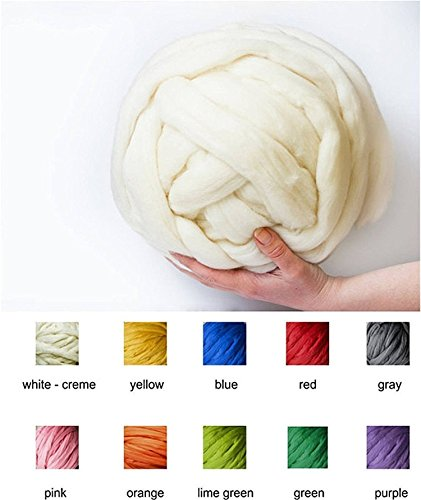 100% Non-Mulesed Chunky Wool Yarn Big chunky Yarn Massive Yarn Extreme Arm Knitting Giant Chunky Knit Blankets Throws Grey White (0.25kg-0.55lbs-14yard, white)