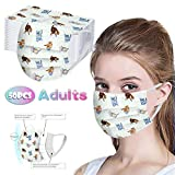 50 Pcs Facemask Disposable, 3 Layers Safety Bandanas Comfortable for Blocking Dust Air Pollution Protection