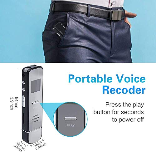 Digital Voice Recorder,ZHKUVE 16GB Voice Activated Recorder,Portable Audio Sound Recorder with MP3 Player Dual Microphones,Playback,Speaker,Rechargeable Tape Recorder for Lectures Meetings Interviews