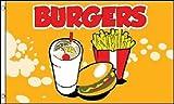 BURGERS Flag Fast Food Restaurant Sign Food Tent Banner Hamburger Pennant 3x5