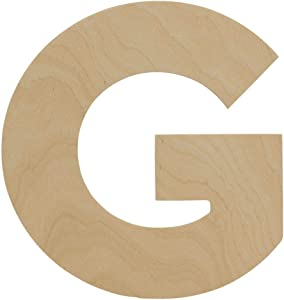 Wooden Letters - G - Unfinished 8 x 7-3/8 Inch Decorative Craft Monogram for Wedding Parties and Home Décor with Tool Free Adhesive Foam Squares for Hanging - by Woodpeckers