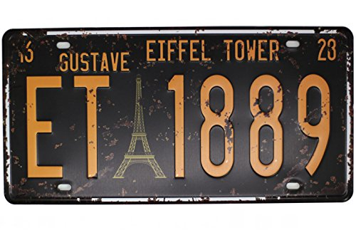 GUSTAVE EIFFEL TOWER ET 1889 Vintage Auto License Plate, Embossed Tag Size 6