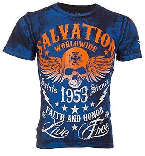 Archaic AFFLICTION Men T-Shirt BLACK TIDE Skull Tattoo Biker MMA UFC – DiZiSports Store