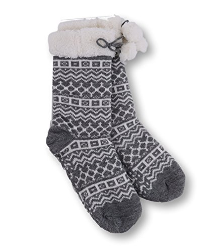 Pembrook Knit Slipper Socks - Soft and Warm Faux Shearling Lining and Non Skid Tread Sole - Great Plush Slip On House Slippers For Adults, Women, Girls