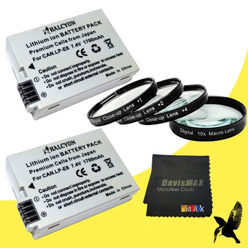 58mm Macro Close Up Kit + 3 Piece Filter Kit for Canon EOS Rebel T2i with Canon 50mm 1.8 Lens + TWO Halcyon LP-E8 Batteries for Canon EOS Rebel T2i Bundle