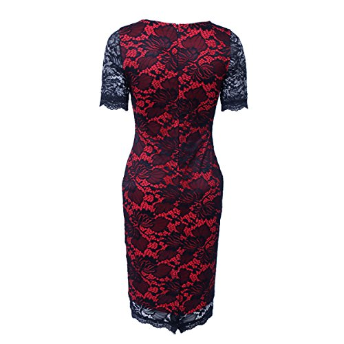 Lace Sleeve Hollow Pencil Bodycon Hook Women Dress Fit Half Slim Topfly Red Vogue qFwHRxg