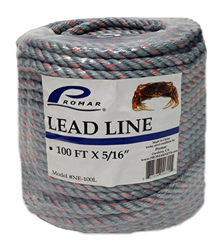 Promar NE-100L 100-Foot Lead Core Rope, 5/16-Inch Diameter, Green and Orange (Braided Lead Rope)