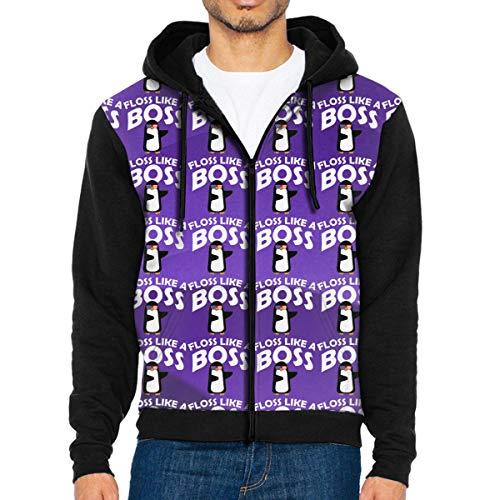 Penguin Floss Like A Boss Men's Full-Zip Hoodie Jacket Long Sleeve Pullover Sweatshirt with Pocket (Hoodie Up Zip Penguin)
