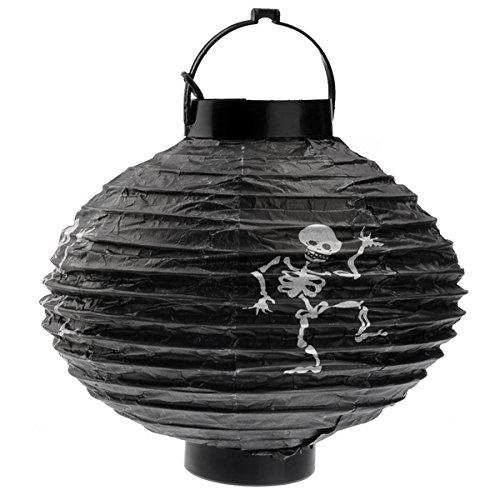 BESTOYARD 2 AAA Powered Light Up Pumpkin Shaped Paper Lantern for Halloween -