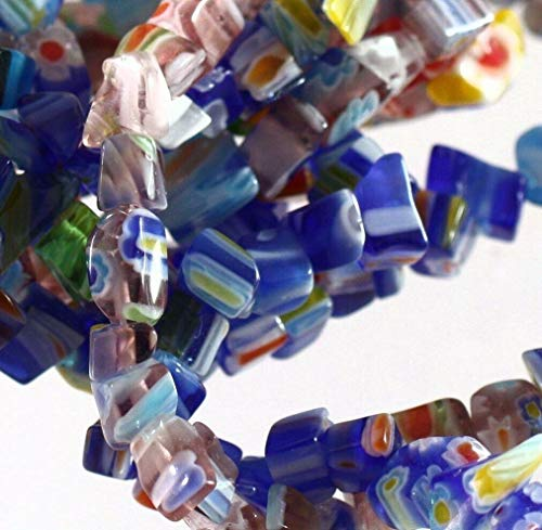 Three 35 Strands Millefiori Glass Chip Beads with Small 3-5Mm Chips