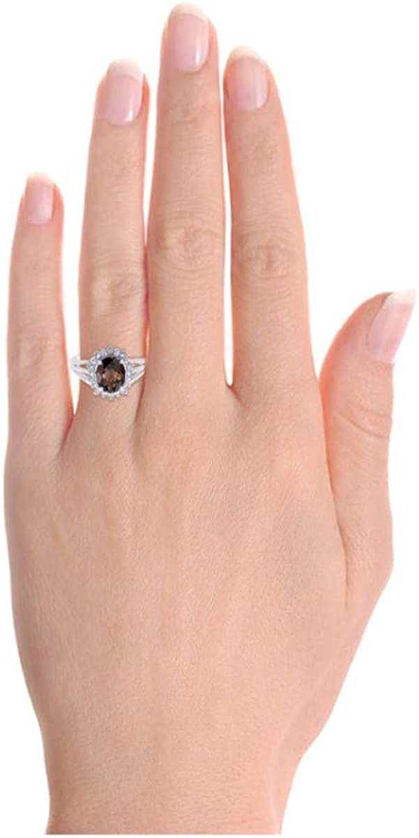 RYLOS Ladies Princess Diana Inspired Halo Ring Gemstone /& Genuine Sparkling Diamonds in Sterling Silver .925-9X7MM Color Stone