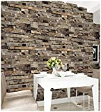 HaokHome 91302 3d Faux Brick Wallpaper Textured Stone Wallpaper Roll Yellow 20.8' x 393.7' Home Room Decoration