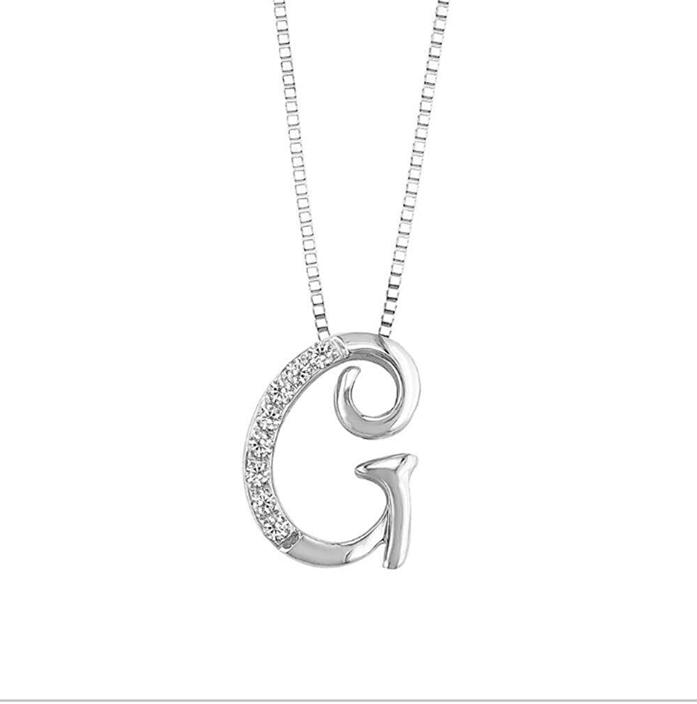 JMS Jewelry 18K White Gold Initial G Pave with Diamond Pendant 45