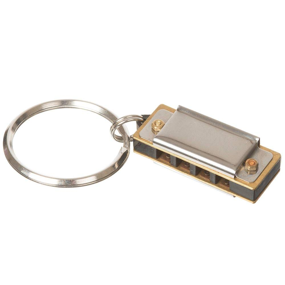 ASAB Worlds Smallest Harmonica Plays Key of C Musical Instrument Mini Real Working Mouth Organ Keyring Toy Gadget Gift