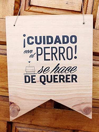 Cuidado con el perro! - cartel colgante de madera decorativo ...