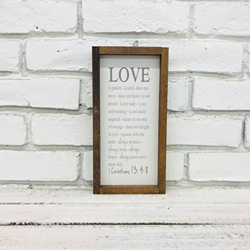 Love is Patient Love is Kind 1 Corinthians 13 Bible Verse Farmhouse Framed Wood Sign