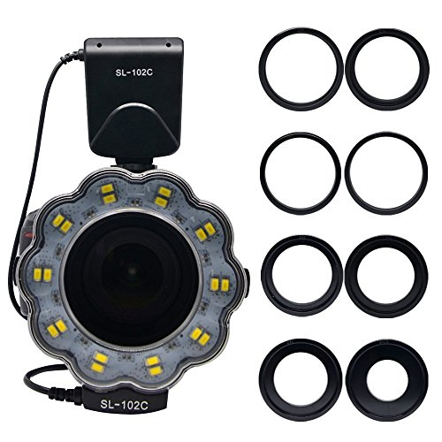 (Venidice SL-102 Camera Manual Ring Light Flash, Macro LED Ring Flash(LCD Display) for 40.5mm, 52mm, 55mm, 58mm, 62mm, 67mm, 72mm, 77mm Lens DSLR Cameras)