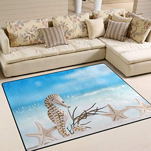 """Price comparison product image XiangHeFu Area Rugs 5'3""""x4' (63x48 Inches) Sea Beach Seahorse Starfish Doormats Mat Personalized Soft Carpet Mat for Living Dining Room Bedroom Home Decorative"""