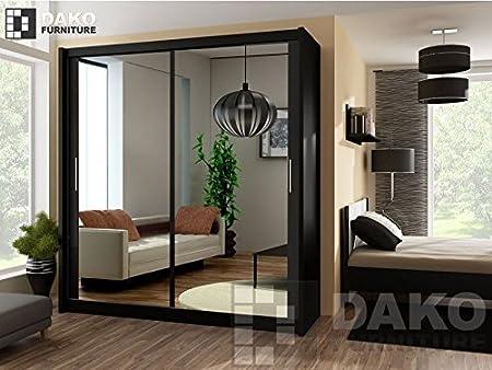 Armario de puerta corredera con espejo PARIS 203, 203 cm de ancho, color negro: Amazon.es: Hogar