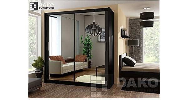 Armario ropero con espejo (Puerta Corredera) 160 cm Ancho Malta 6 BLACK by Dako –: Amazon.es: Hogar