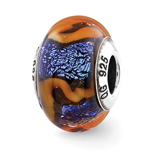 Silver Swirl Charm - ICE CARATS 925 Sterling Silver Charm For Bracelet Blue Orange Swirls Glass Bead Glas Murano Dichroic Fine Jewelry Ideal Mothers Day Gifts For Mom Women Gift Set From Heart