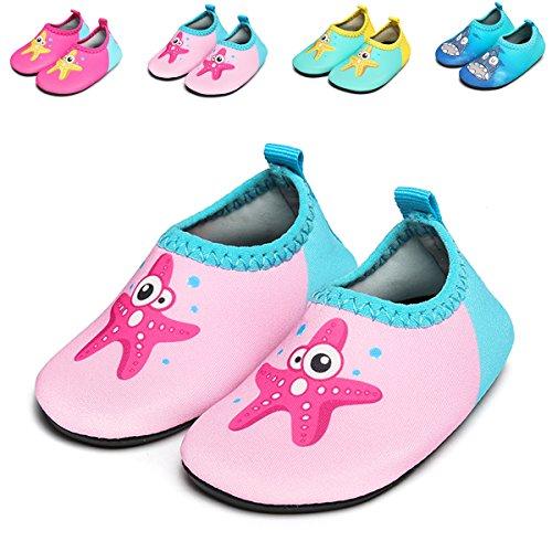 JIASUQI Fashion Outdoor Sports Water Aqua Skin Water Shoes Casual Beach Sandals For Baby,Starfish Pink 12-18 Months