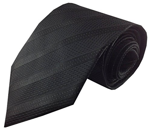 Kailong Men's Tie Black with Tonal Stripe Silk Necktie