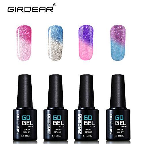 Girdear 4Pcs Gel Nail Polish Soak Off Thermal Temperature Changing Colour UV LED Maniure Gift Set Nail Lacquer Art Kit C027