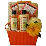 Art of Appreciation Gift Baskets Tranquil Delights Spa Bath and Body Gift Set Basket with Tea Basket