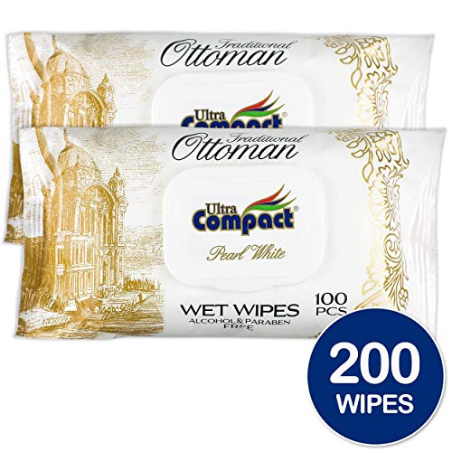Ultra Compact Luxurious Wet Wipes - Alcohol Free Body and Hand Cleaning Wipes - Great for Camping, Travel and Personal Hygiene - Dermatologically Tested Cleansing Cloths - 100 Hand Wipes, Set of 2
