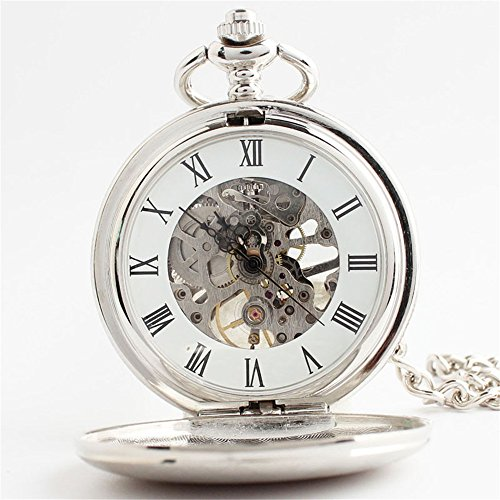 Zxcvlina Classic Smooth Unisex Pocket Watch Silvery Carved Retro Mechanical Pocket Watch with Chain Suitable for Gift Giving by Zxcvlina (Image #2)