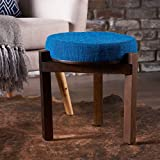 Christopher Knight Home 300916 Living D'Artagnan Fabric Stool Mango Wood Frame (Blue) Walnut