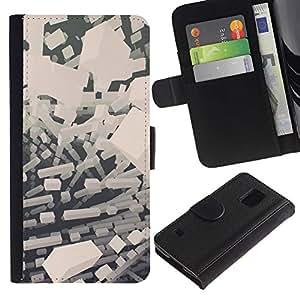 Protector de cuero de la PU de la cubierta del estilo de la carpeta del tirón BY RAYDREAMMM - Samsung Galaxy S5 V SM-G900 - Abstract bloques blancos