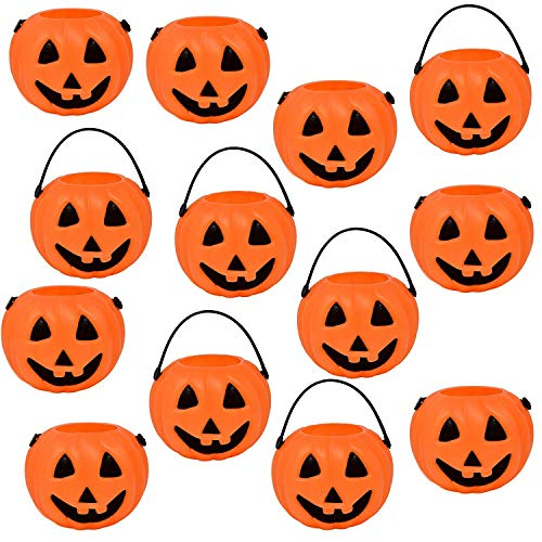 Gift Boutique 24 Halloween Mini Pumpkin Kettle Cups Trick Or Treats Plastic Buckets with Handles Goody Party Favors Supplies]()