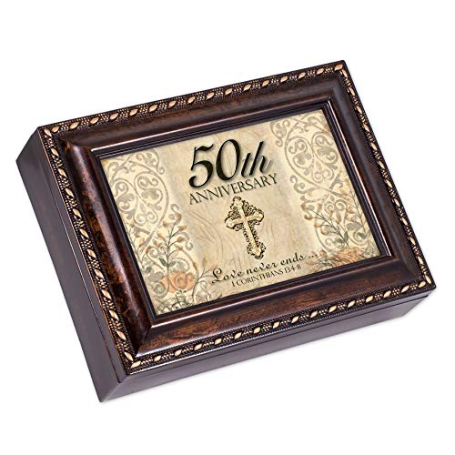 50th Anniversary Gold Year Burl Wood Finish Jewelry Music Box Plays Amazing Grace