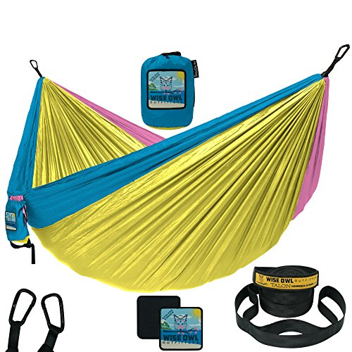 Wise Owl Outfitters Camping Hammock With Tree Straps by Single & Double Portable Lightweight Heavy Duty Nylon Hammocks – Best Camp Gear for OutDoors, Beach, Hiking - SO Endless (Endless Adventures Swing)