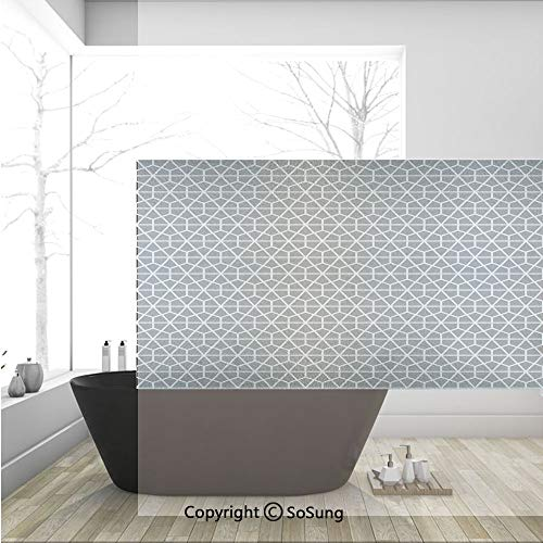 - 3D Decorative Privacy Window Films,Hexagonal Comb Pattern with Crossed Lines Eastern Cultures Monochrome Decorative,No-Glue Self Static Cling Glass Film for Home Bedroom Bathroom Kitchen Office 36x24