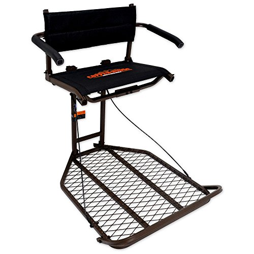 "Copper Ridge Outdoors Tree Stand - Ultra Comfort Deluxe Hang On - 24x32"" Foot Platform, Flip Up Mesh Seat and Padded Arm Rests, Foldable Foot Rest, 300lb Weight Capacity, Hang-On ()"