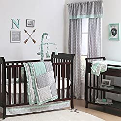 Mint Woodland and Geometric Patchwork Girl's 4 Piece Crib Bedding by The Peanut Shell