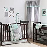 Mint Woodland and Geometric Patchwork 3 Piece Crib Bedding by The Peanut Shell Reviews