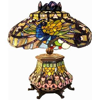 Warehouse Of Tiffany 2954#LSH Tiffany Style Peacock Lantern Table Lamp