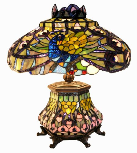 Warehouse of Tiffany 2954#LSH Tiffany-style Peacock Lantern Table Lamp, Orange/Red