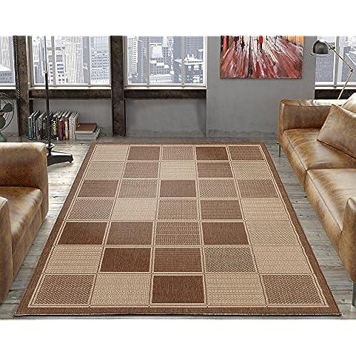 Ottomanson Jardin Collection Brown Contemporary Boxes Design Indoor/Outdoor Jute Backing Area Rug 5u00273 x 7u00273 Brown  sc 1 st  Amazon.com & 5x7 Indoor Outdoor Carpets: Amazon.com