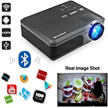 2018 Android 6.0 Wireless Bluetooth Video Projector HD 1080P 3200 Lumen Wifi Connectivity Support Apps Netflix Sling TV Kodi Airplay Smart LCD LED Projector Home Theater with HDMI/USB/Audio/Ypbpr