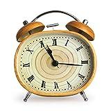 Mynse 4.5 inch Ellipse Twin Bell Alarm Clock with Night Light Student Simulation Wood Grain Retro Metal Alarm Clock