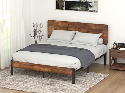 Bedroom Allewie Queen Size Platform Bed Frame with Wood headboard and Metal Slats/Rustic Country Style Mattress Foundation/Box… modern beds and bed frames