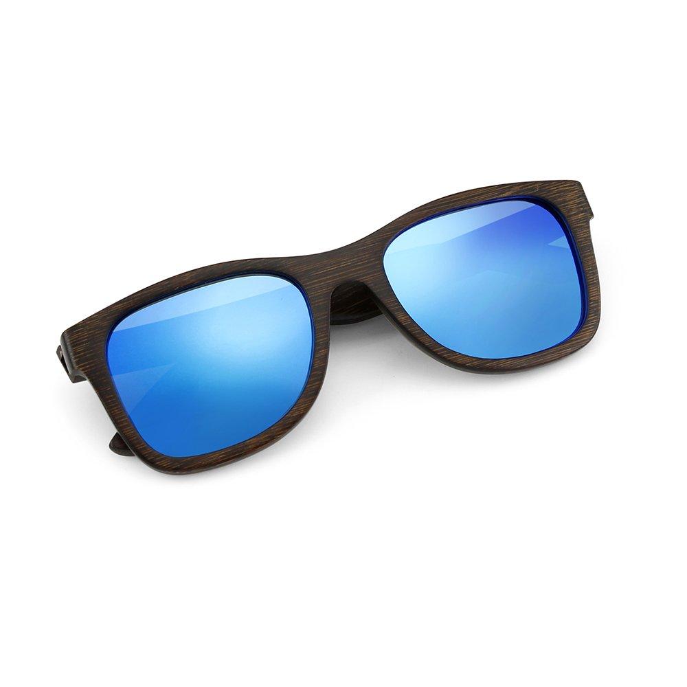 dee71a51edbc Amazon.com  Oct17 Bamboo Wood Wooden Polarized Lens Sunglasses Real Eyewear  Sunglass Men Women - Blue  Clothing